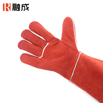 手套/电焊手套 红色 16寸 牛二层皮
