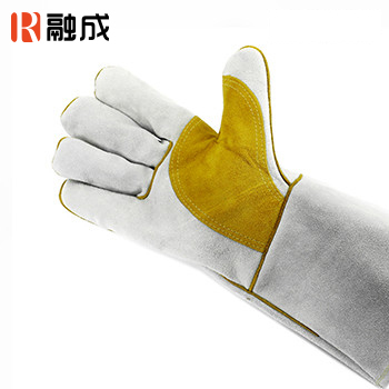 手套/护掌电焊手套 本色配金黄色 14寸 牛二层皮