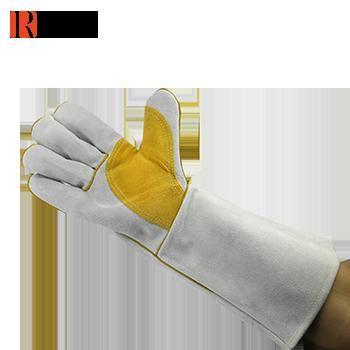 手套/护掌电焊手套 本色配金黄色 16寸 牛二层皮