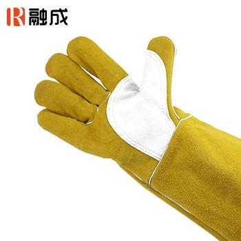 手套/护掌电焊手套 金黄色配本色 16寸 牛二层皮