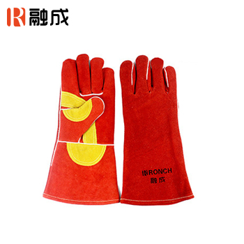 手套/护掌电焊手套 红色配金黄色 14寸 牛二层皮