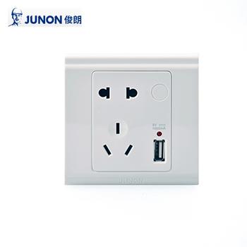 插座/H9PK/USB USB充电二三极插座/86型暗装  俊朗