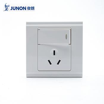 插座/H811L/9K 大按键单联单控开关三极插座/86型暗装  俊朗