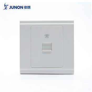 插座/HT01 美式单联电话插座(保护门)/86型暗装  俊朗