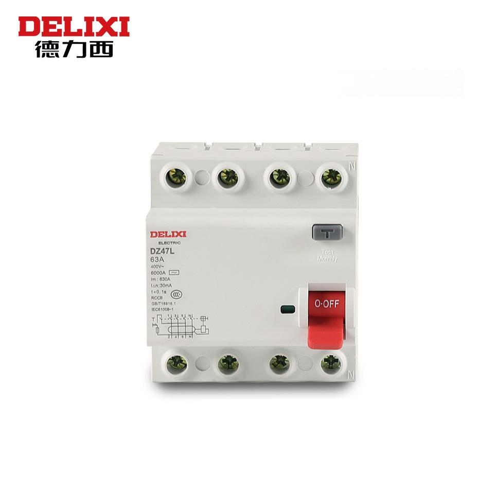 小体积漏电断路器/小型断路器 DZ47L 4P 25A 30mA AC(小体积漏电断路器)/德力西