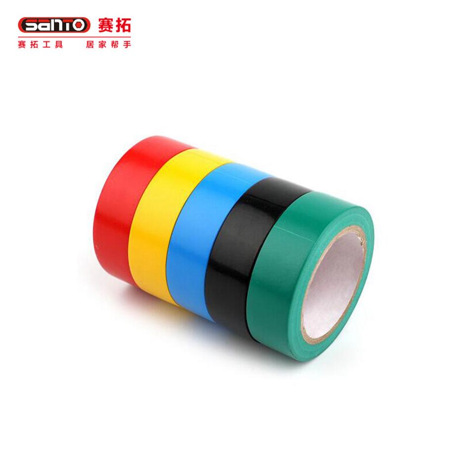 电气绝缘胶带/电工PVC胶布 电气绝缘胶带 PVC防水胶布 19mm*9m 5色装特惠装19601960赛拓(SANTO)