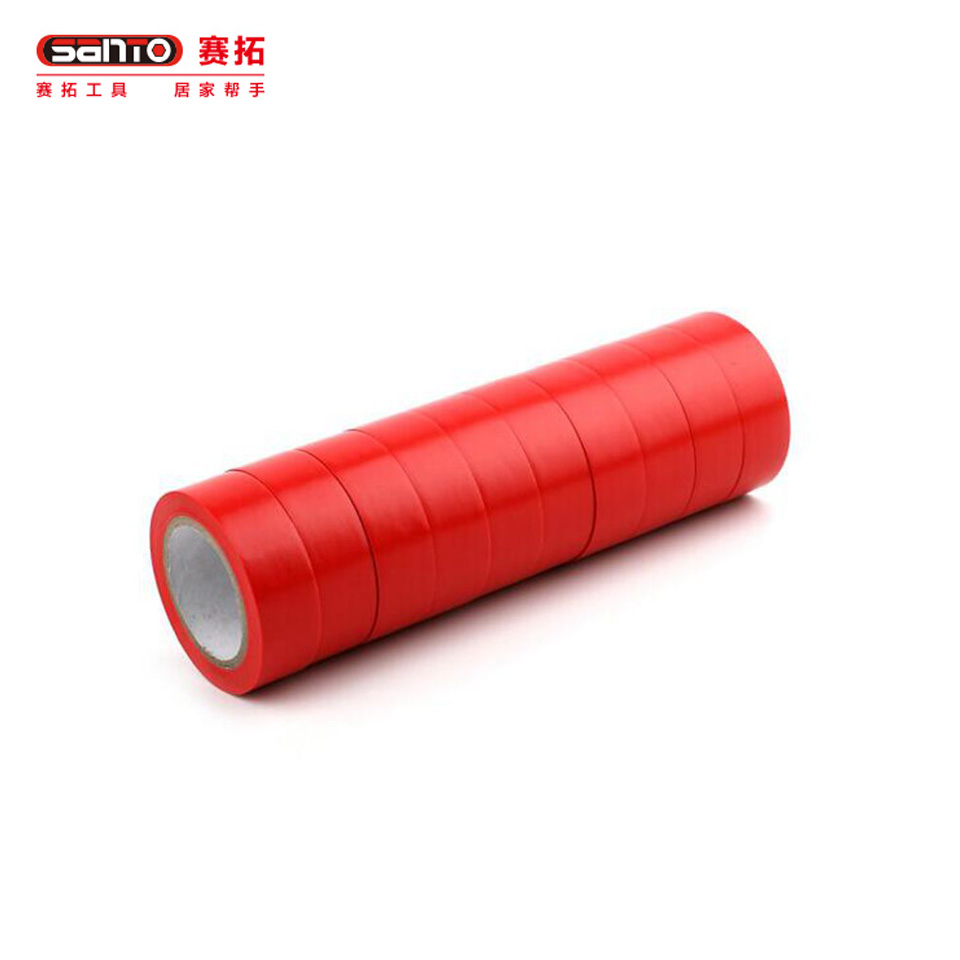 电气绝缘胶带/电工PVC胶布 电气绝缘胶带 PVC防水胶布红色 19mm*10m  10卷特惠装19611961赛拓(SANTO)
