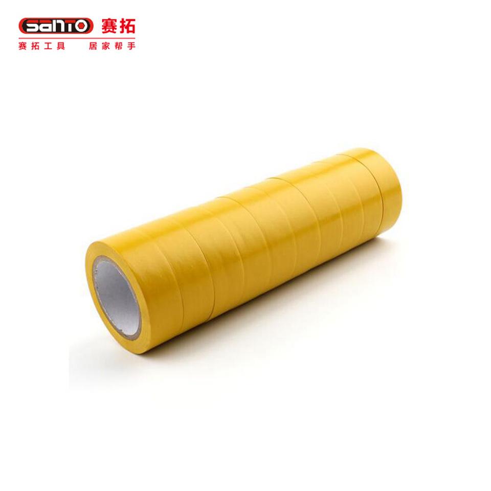 电气绝缘胶带/电工PVC胶布 电气绝缘胶带 PVC防水胶布黄色 19mm*10m 10卷特惠装19621962赛拓(SANTO)