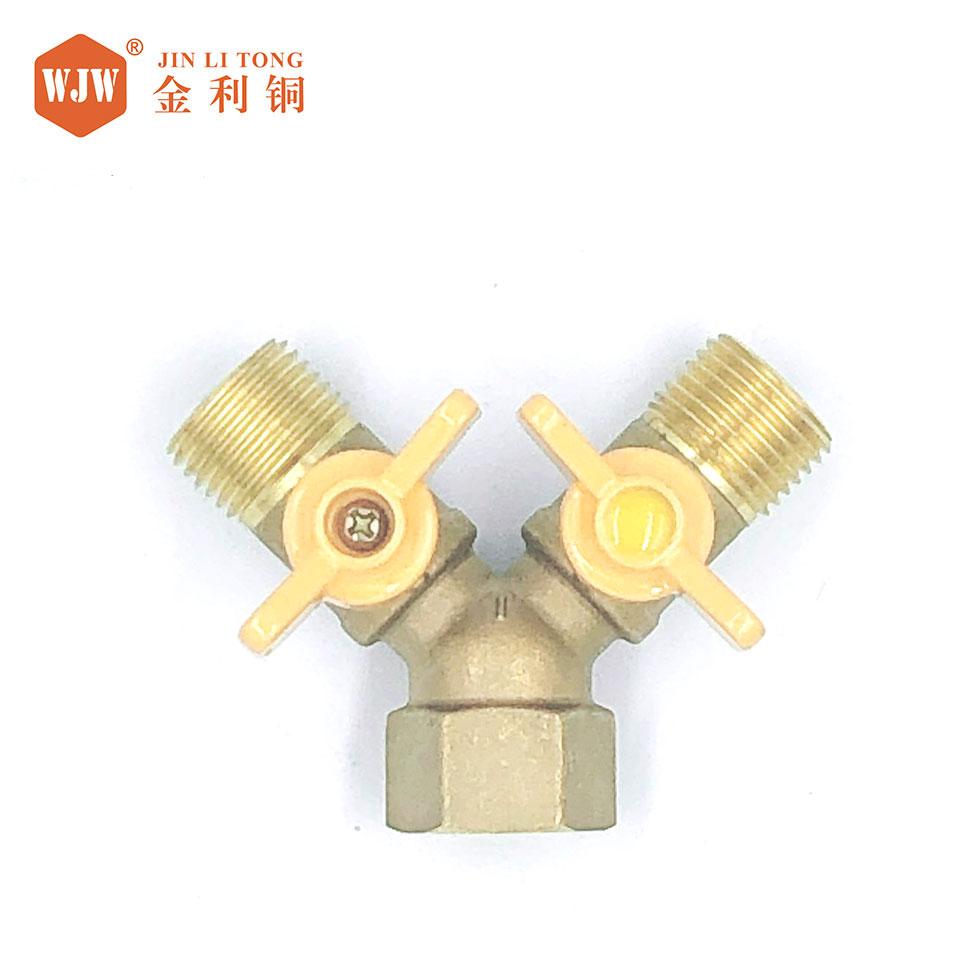 4分两头外丝一头4分内丝带开关三叉燃气阀大体/59-1环保铜/投保产品/金利铜